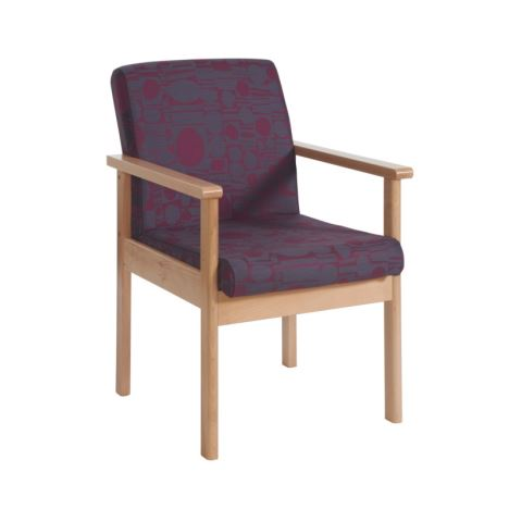 Meavy Modular Beech Wooden Frame Chair - Single Seat with Arms