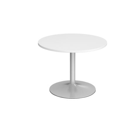 Trumpet Base Circular Boardroom Table - 1000 - Silver - White