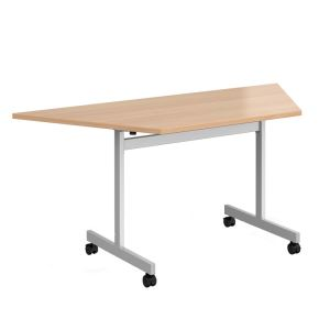 Trapezoidal Fliptop Meeting Table with Silver Frame