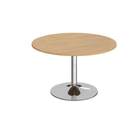 Trumpet Base Circular Boardroom Table - 1200 - Chrome - Oak