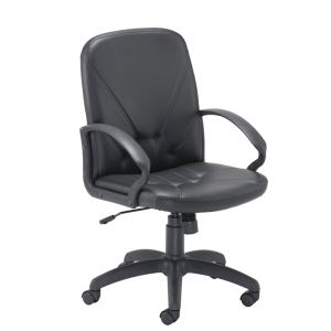 Slam Mid Back Leather Look Chair - Black