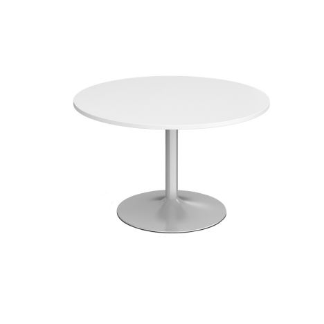 Trumpet Base Circular Boardroom Table - 1200 - Silver - White