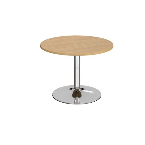 Trumpet Base Circular Boardroom Table - 1000 - Chrome - Oak