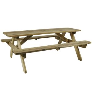 Hereford Solid Spruce Wood 8 Seat Picnic Table