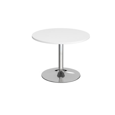 Trumpet Base Circular Boardroom Table - 1000 - Chrome - White