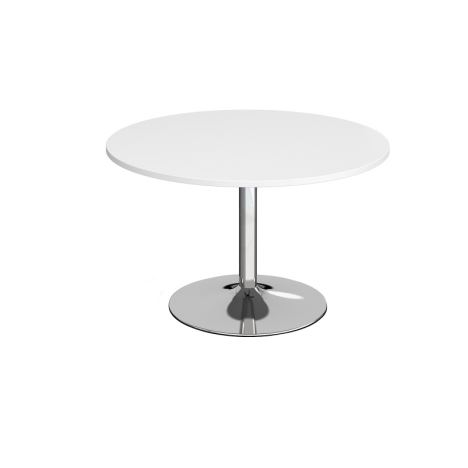 Trumpet Base Circular Boardroom Table - 1200 - Chrome - White
