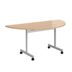 Semi Circular Fliptop Meeting Table with Silver Frame